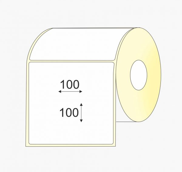 Lipnios etiketės (100 mm x 100 mm), Matte, vellum, mažas rulonas | BIZNIO KONTAKTAI