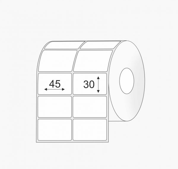 Plastikinės 45mm x 30mm Polipropileno (PP) lipnios etiketės rulonuose, dviem eilėm, balta spalva, pastiprinti klijai, didelis rulonas