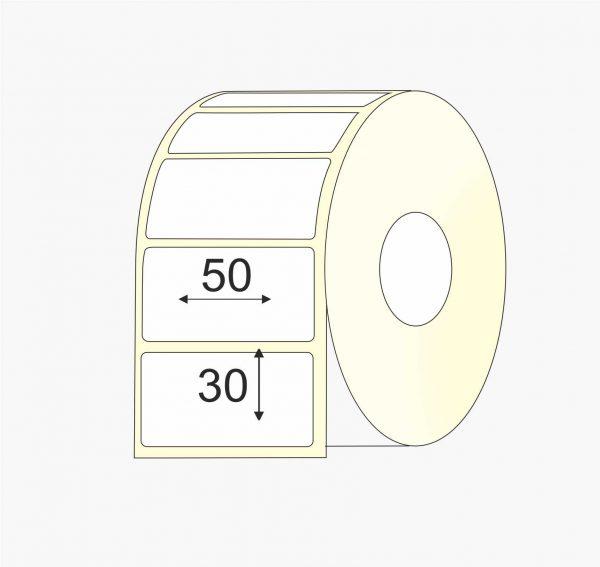 Thermo-top, 50 mm x 30 mm etiketės, dviem eilėm, mažas rulonas, viena eilė