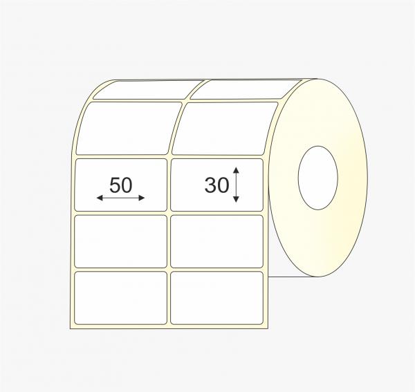 Pusiau blizgus popierius, 50 mm x 30 mm etiketės, dviem eilėm, mažas rulonas