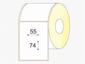Lipnios etiketės, (55mm x 74mm) Thermo top + lakas, pastiprinti klijai, etiketės rulone mažas rulonas | BIZNIO KONTAKTAI