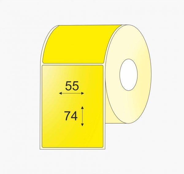 Lipnios plastikinės etiketės (55mm x 74mm) Polipropilenas (PP) rulonuose, geltona spalva, standartiniai klijai. | BIZNIO KONTAKTAI
