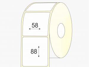 Thermo top, pastiprinti klijai, lakas, 58mm x 88mm etiketės rulone mažas rulonas
