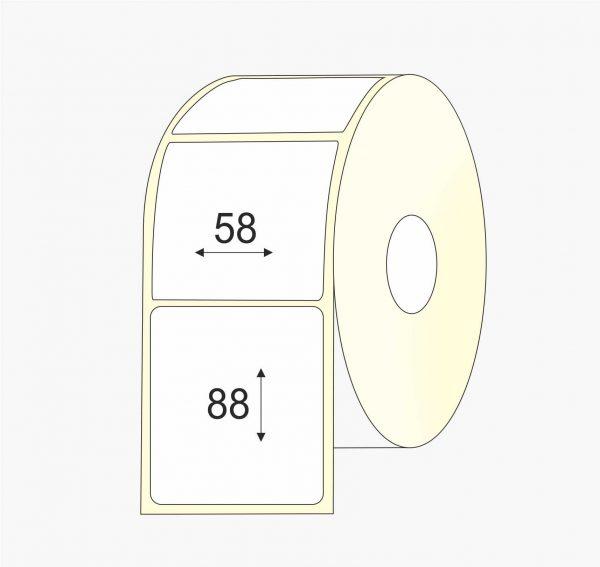 Lipnios etiketės 58 x 88 etiketės rulone, Thermo top, pastiprinti klijai, lakas, mažas rulonas