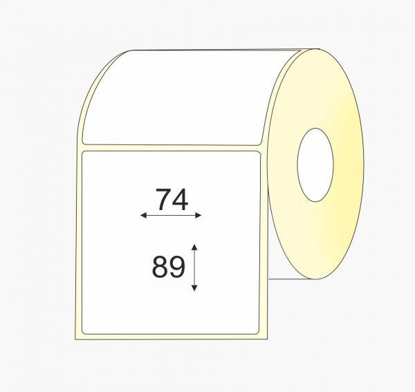 Lipnios etiketės (74 mm x 89 mm), Matte, vellum, mažas rulonas, standartiniai klijai   BIZNIO KONTAKTAI