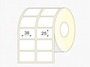 Matte, vellum, 38 mm x 25mm, etiketės, rulonai, mažas rulonas