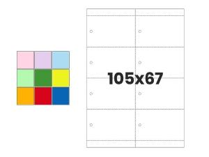 Pakabinamos etiketės A4 105x67 mm | įvairių spalvų