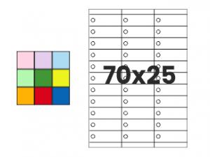 Pakabinamos etiketės A4 70x25 mm | įvairių spalvų