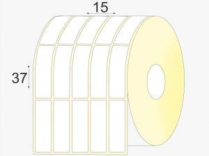 35 x 17, Pusiau Blizgios, lipnios etiketės rulonuose, didelis rulonas, 20000vnt.