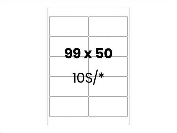 Lipnios etiketės A4 / 99x50 mm