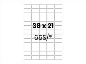 Lipnios etiketės A4 / 38x21 mm