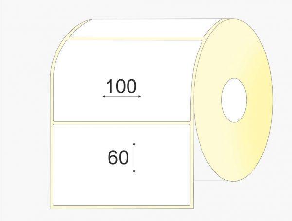Lipnios etiketės 100 x 60, pusiau blizgus popierius, didelis rulonas, 3 000 vnt.