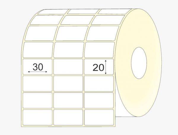lipnios etiketes 30x20, matinis popierius, didelis, 20 tūkst. vnt.