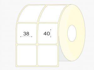 Lipnios etiketes 38x40 mm, pusiau blizgios, didelis rulonas, 9000 vnt.