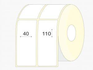 Lipnios etiketes 40x110 mm, matinis VELLUM popierius, didelis rulonas, 3000 vnt.