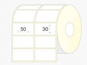 Lipnios etiketės 50 x 30, vellum, didelis rulonas, 12000 vnt.