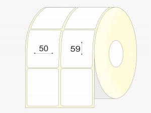 Lipnios etiketes 50x59 mm, pusiau blizgios, didelis rulonas, 6000 vnt.
