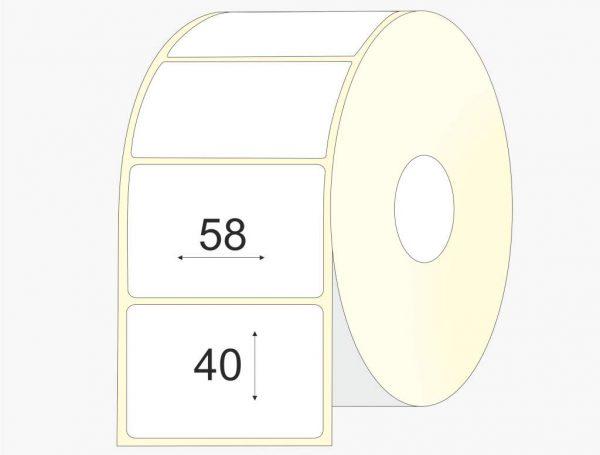 Lipnios etiketės 58 x 40, matinis popierius, didelis rulonas, 4 000 vnt.