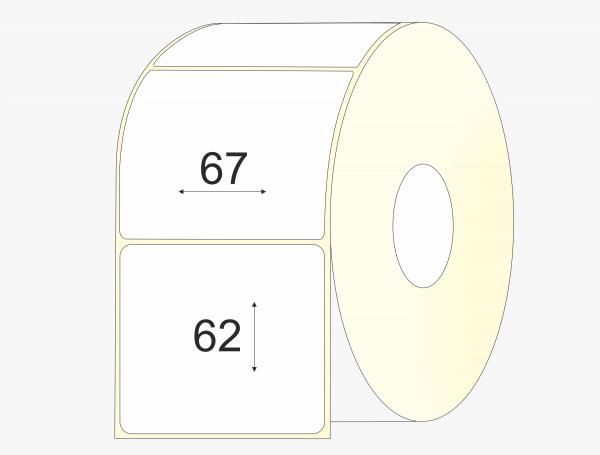 Lipnios etiketės 67 x 62 pusiau blizgus popierius , didelis rulonas, 2 500 vnt.