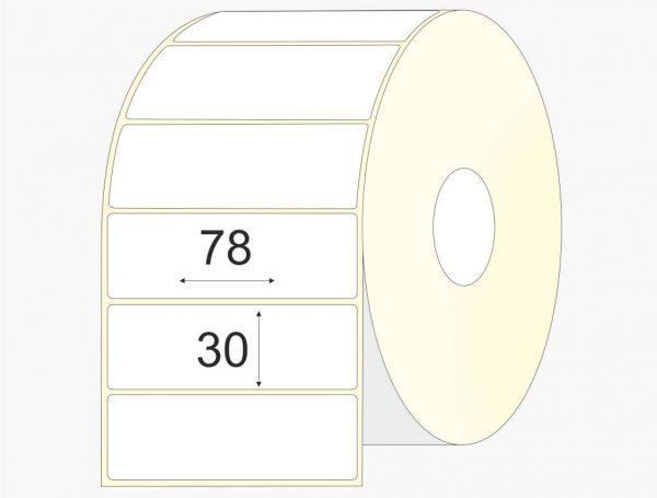 Lipnios etiketės 78 x 30, pusiau blizgus popierius, didelis rulonas, 6 000 vnt.