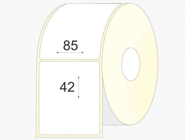 Lipnios etiketės 85 x 42, matinis vellum popierius, didelis rulonas, 4 000 vnt.