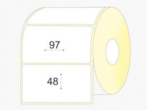 Lipnios etiketės 97 x 48, pusiau blizgus popierius, didelis rulonas, 3 500 vnt.