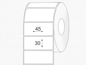 llipnios etiketės 45x30 PP mazi rulonai